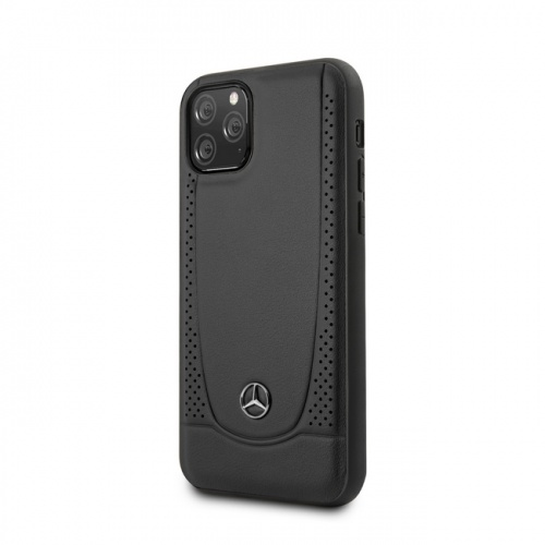 GENUINE LEATHER HARD CASE - SMOOTH LEATHER, PEFORATIONS AND METAL STAR LOGO - BLACK - 11/11Pro/11ProMax