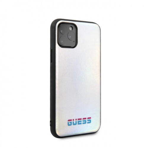 IRIDESCENT COLLECTION - HARD CASE GUESS LOGO - SILVER - 11/11Pro/11ProMax